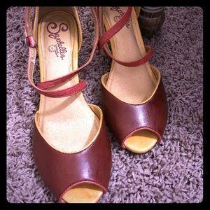Red peep toe heels from Seychelles
